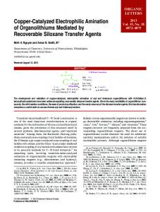 Copper-Catalyzed Electrophilic Amination of Organolithiums Mediated ...
