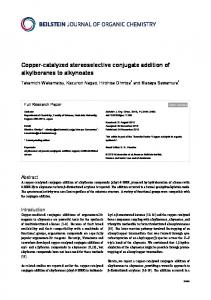 Copper-catalyzed stereoselective conjugate ... - Beilstein Journal