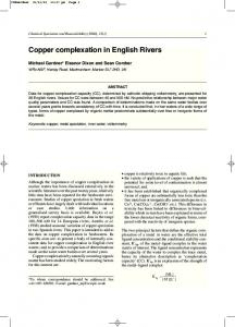 Copper complexation in English Rivers