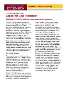 Copper for Crop Production
