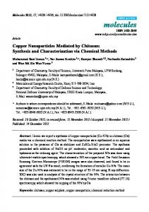 Copper Nanoparticles Mediated by Chitosan: Synthesis ... - CiteSeerX