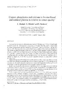 Copper, phosphorus and calcium in bovine blood and seminal plasma