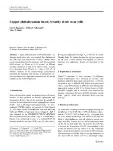 Copper phthalocyanine based Schottky diode solar cells