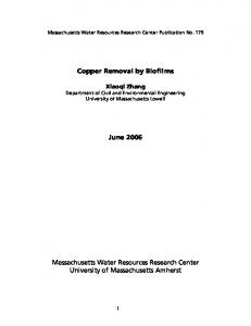 Copper Removal by Biofilms - UMass Water Resources Research