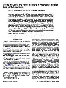 Copper Solubility and Redox Equilibria in Magnesia ... - Springer Link