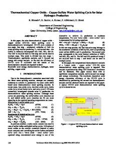 Copper Sulfate Water Splitting Cycle for Solar