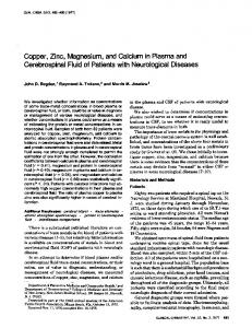 Copper, Zinc, Magnesium, and Calcium in Plasma ... - Clinical Chemistry