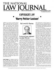 Copyright law 'Harry Potter Lexicon' - Paul, Weiss