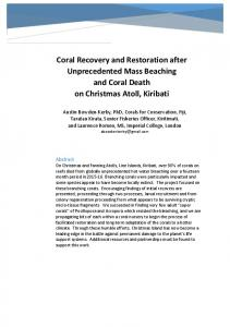 Coral Recovery and Restoration after Unprecedented ...