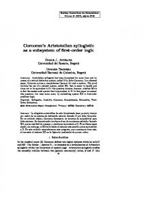 Corcoran's Aristotelian syllogistic as a subsystem ... - SciELO Colombia