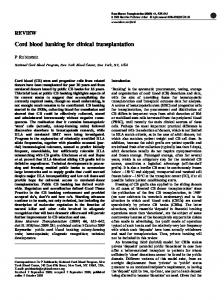 Cord blood banking for clinical transplantation - Nature