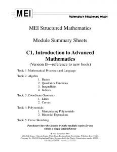 Core Maths 1 - SICM