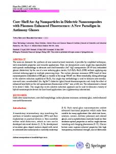 Core Shell Au Ag Nanoparticles in Dielectric ... - Springer Link