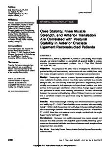 Core Stability, Knee Muscle Strength, and Anterior ...