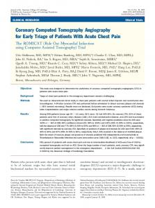 Coronary Computed Tomography Angiography for Early ... - JACC