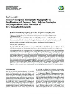 Coronary Computed Tomography Angiography in Combination with ...