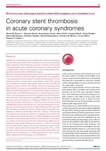 Coronary stent thrombosis in acute coronary syndromes