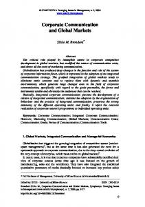Corporate Communication and Global Markets - (SSRN) Papers