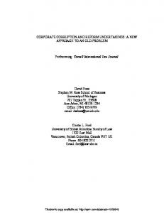 CORPORATE CORRUPTION AND REFORM ... - SSRN papers