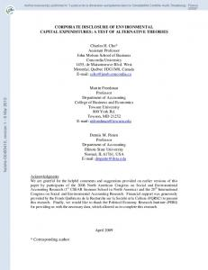 Corporate Disclosure of Environmental Capital Expenditures: A Test of ...