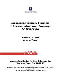 Corporate Finance, Financial Intermediation and Banking - SSRN