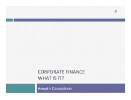 CORPORATE FINANCE WHAT IS IT?