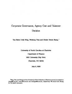 Corporate Governance, Agency Cost and Takeover ... - CiteSeerX