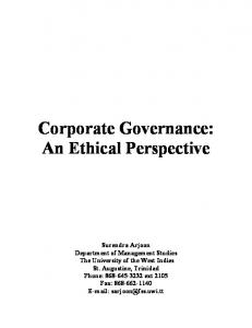 Corporate Governance: An Ethical Perspective - CiteSeerX