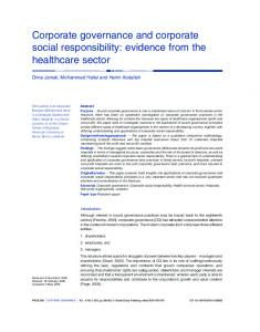 Corporate governance and corporate social responsibility - American ...