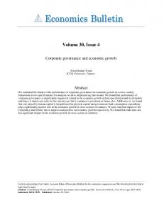 Corporate governance and economic growth''