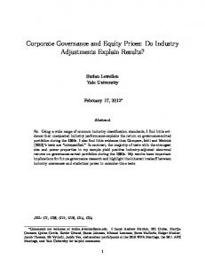 Corporate Governance and Equity Prices: Do Industry ...