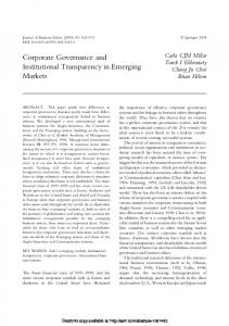 Corporate Governance and Institutional Transparency ... - SSRN papers