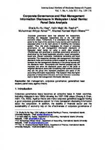Corporate Governance and Risk Management Information Disclosure ...