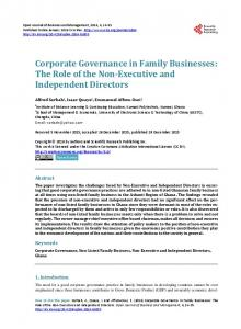 Corporate Governance in Family Businesses: The