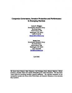 Corporate Governance, Investor Protection and ... - CiteSeerX