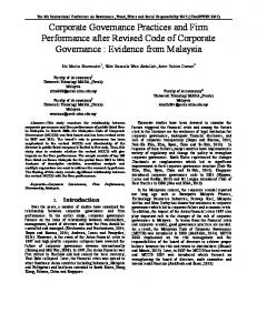Corporate Governance Practices and Firm ...