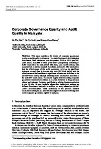 Corporate Governance Quality and Audit Quality in Malaysia