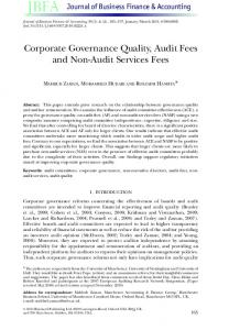 Corporate Governance Quality, Audit Fees and NonAudit Services Fees