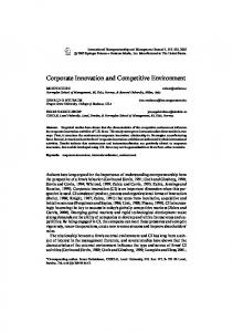 Corporate Innovation and Competitive Environment - Springer Link