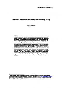 Corporate investment and European monetary policy