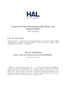 Corporate Profit, Entrepreneurship Theory and Business Ethics - HAL