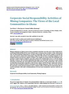 Corporate Social Responsibility Activities of Mining Companies: The ...