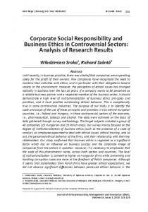 Corporate Social Responsibility and Business Ethics in Controversial