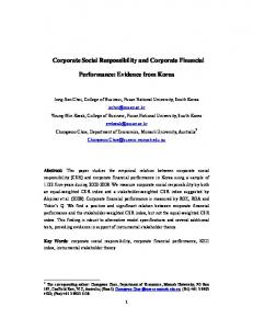 Corporate Social Responsibility and Corporate ...