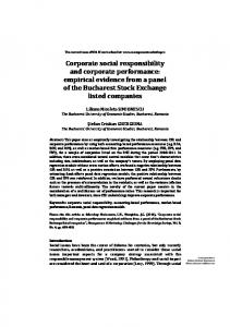 Corporate social responsibility and corporate performance: empirical ...