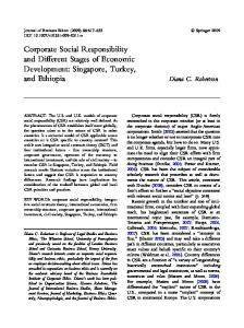 Corporate Social Responsibility and Different Stages of Economic ...