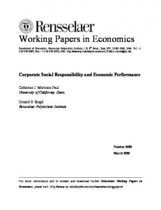 Corporate Social Responsibility and Economic Performance