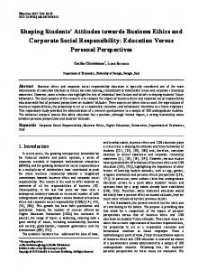 Corporate Social Responsibility, Business Ethics, Higher Education ...