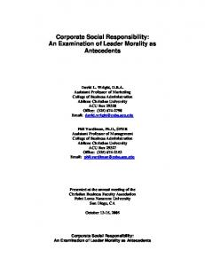 Corporate Social Responsibility - Christian Business Faculty Association