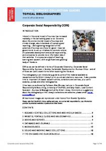 Corporate Social Responsibility (CSR) - British Library